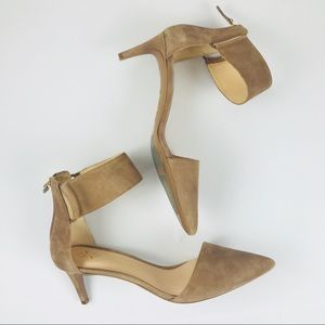 Nine West Ankle Strap Pointed Toe Suede Heel 8M